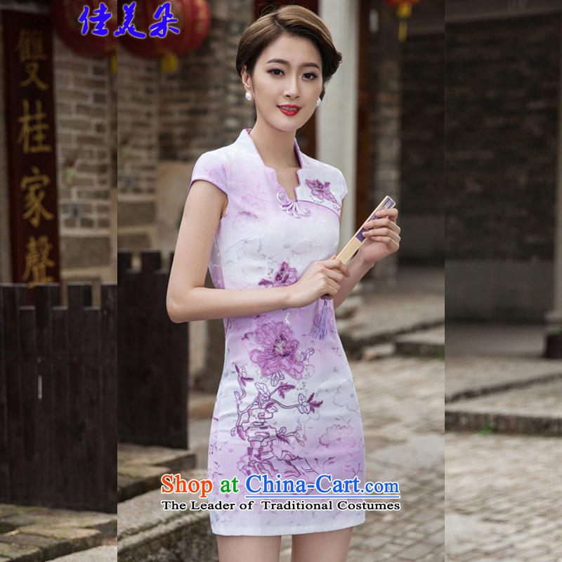 Jia Mei   2015 Flower Spring Summer Stylish retro QIPAO_ short skirt daily qipao gown 1127_ skirt violet S