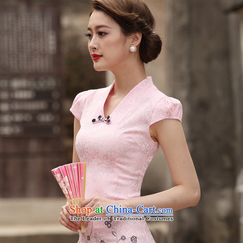 The new 2015 qipao summer short of improved graphics thin retro Sau San dresses female daily cheongsam dress Tang dynasty pink�S