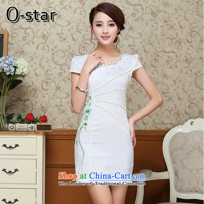 2015 Summer 00-star qipao new cheongsam summer short stylish qipao improved cotton linen, Ms. Tang dynasty pale green XL