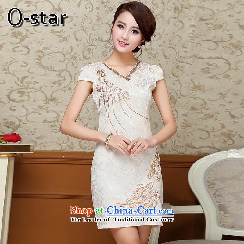 2015 Summer 0-star qipao new cheongsam summer short stylish qipao gown, improved cotton linen m Yellow XL