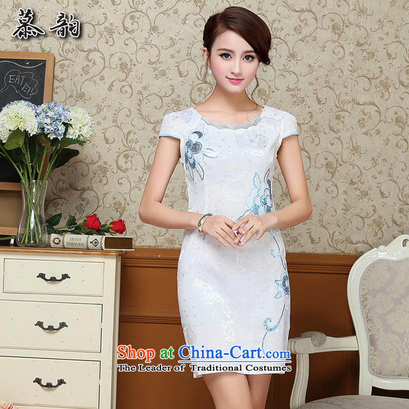 The following�Summer 2015 new women's pretty and stylish version of Sau San video thin cheongsam dress qipao Tang dynasty improved female summer Blue�M