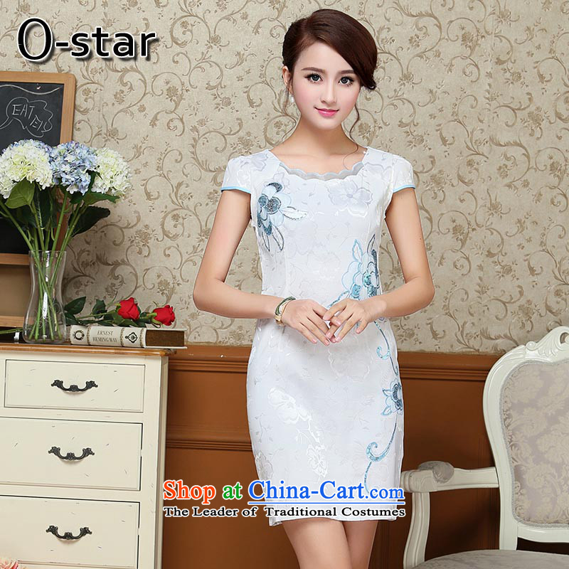 Summer 2015 new 0-star female qipao summer short of qipao gown girls improved Ms. Tang dynasty?S Light Blue