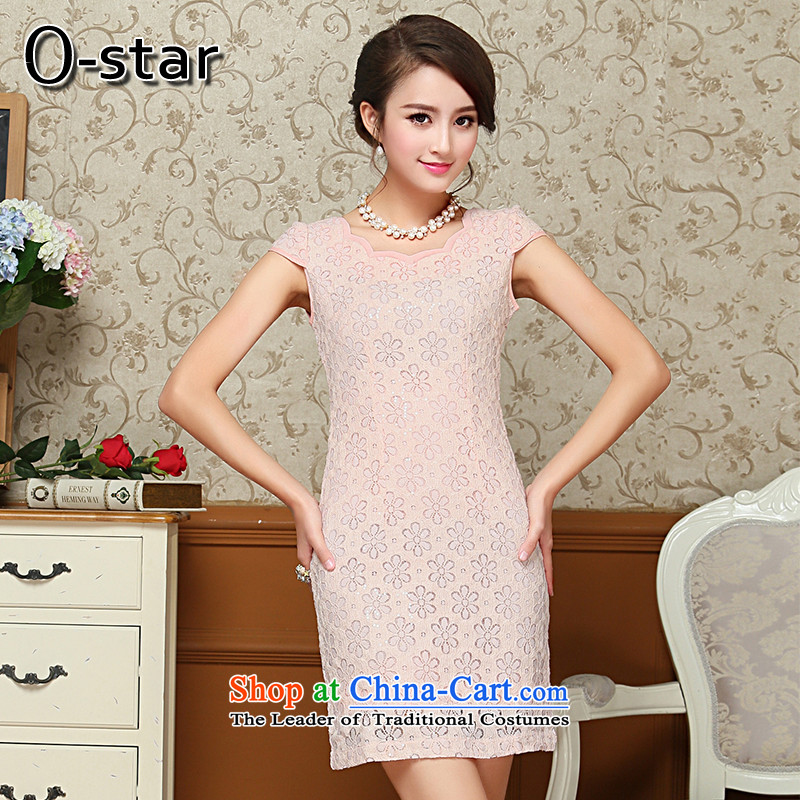 2015 Summer o-star new women's stylish Sau San Tong replace Ms. improved qipao summer pink M