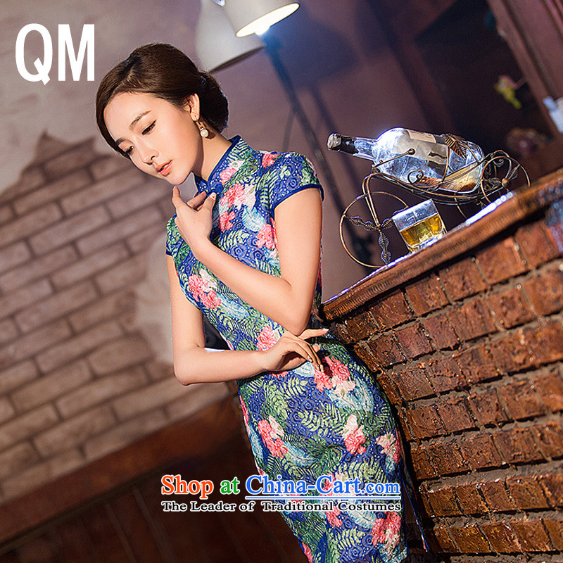 At the end of light floral lace ethnic?WMBQ204 cheongsam dress?photo color?XL