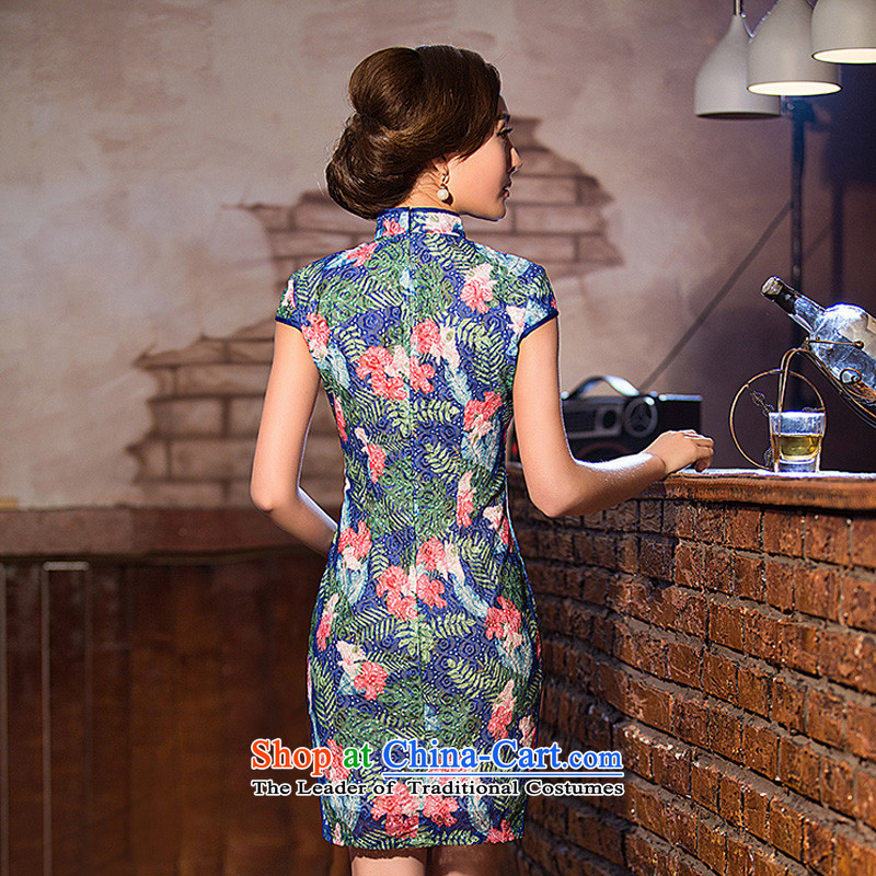 At the end of light floral lace ethnic WMBQ204 cheongsam dress photo color light at the end of XL, , , , shopping on the Internet