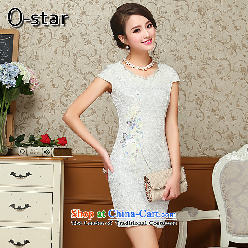 Summer 2015 new 0-star female qipao female short stylish improved qipao pure color Tang dynasty, White M