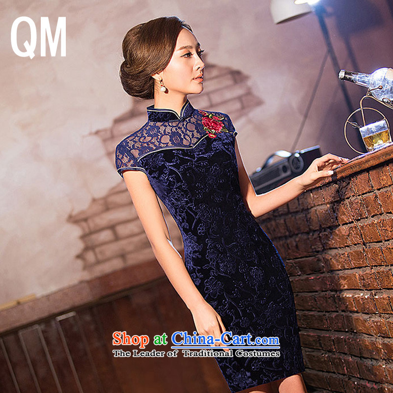 The end of the install MOM retro light lace banquet short of Qipao?WMBQ136?blue?XL