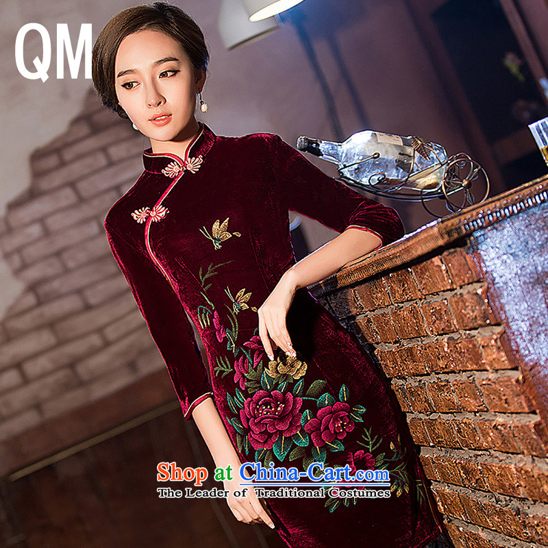 At the end of light retro scouring pads Sau San long-sleeved dresses qipao?WMBQ162?picture color?XL