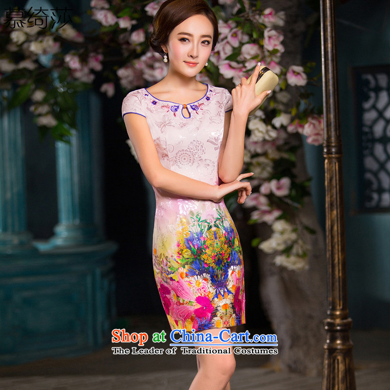 The cross-sa wadding toner 2015 new daily cheongsam dress summer improved cheongsam dress elegant qipao gown QD 191 Sau San XL