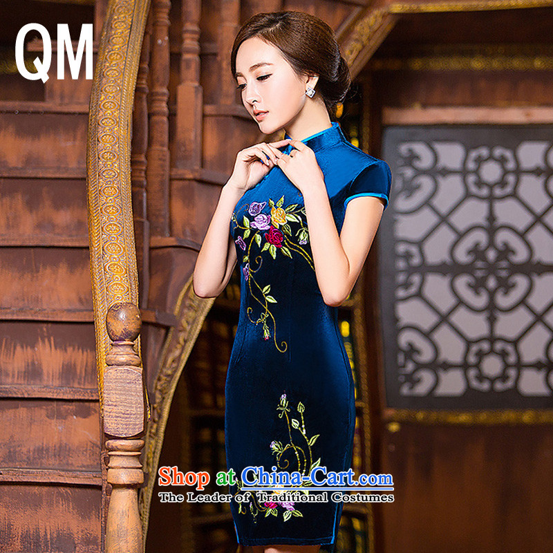 The end of the sheikhs Wind Light, short skirt qipao?WMBQ129 embroidery Sau San?picture color?L