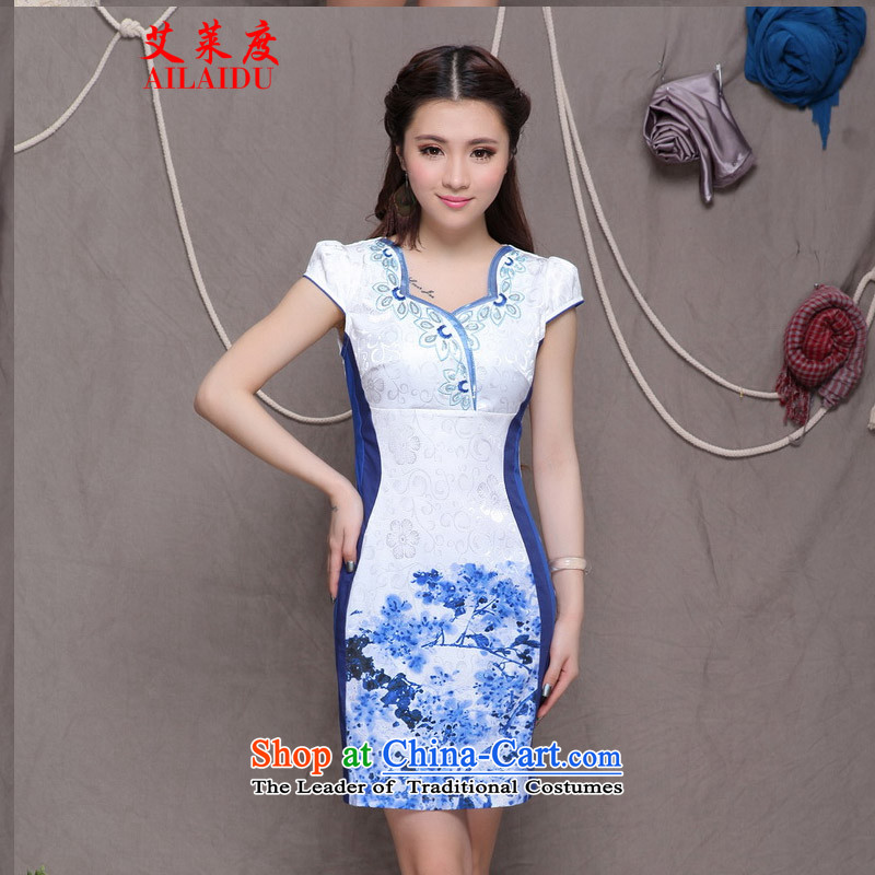 The Aileu degrees 2015 ethnic Stylish retro embroidery Sau San graphics build qipao FF A033_9906 BLUE XXL