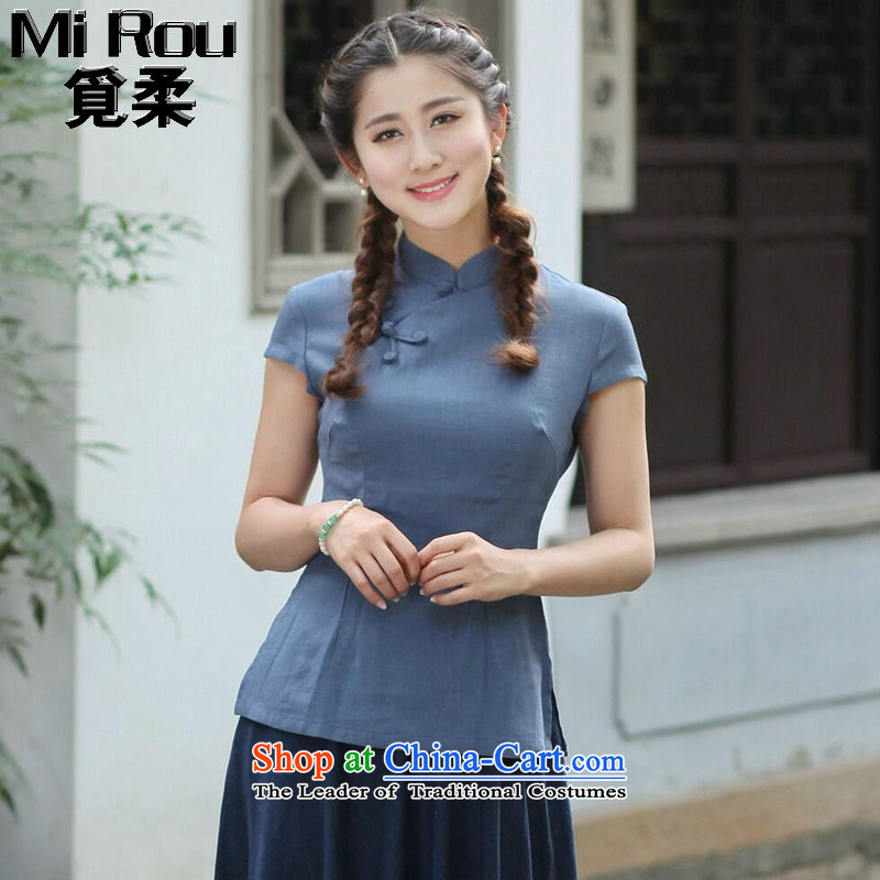 Find Sophie summer blouses ethnic Han-short-sleeved T-shirt qipao improved cotton linen, Ms. Tang with single facade T-shirts are?3XL