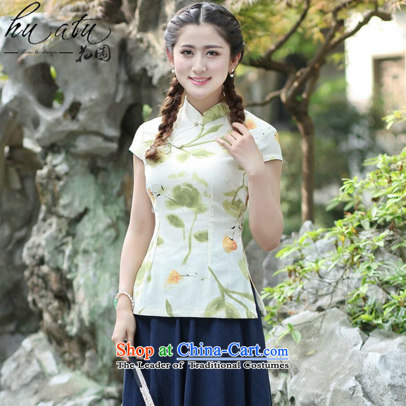 Chinese Dress summer floral blouses, improvement of Tang Dynasty is pressed a mock-neck disc clip short-sleeved T-shirt qipao Sau San Single T-shirts are燲L