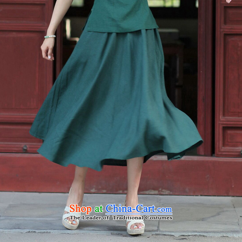 Dan smoke New President Tang dynasty cotton linen body skirt China wind retro-bag elastic waist large hundreds pleated skirts figure color燤