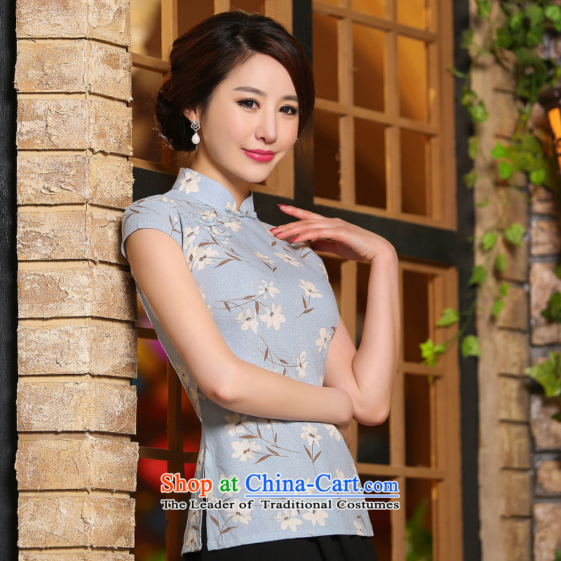 2015 new cheongsam summer female republic of korea wind short shirt improved stylish daily qipao qp video thin foutune temperament basket flower?L