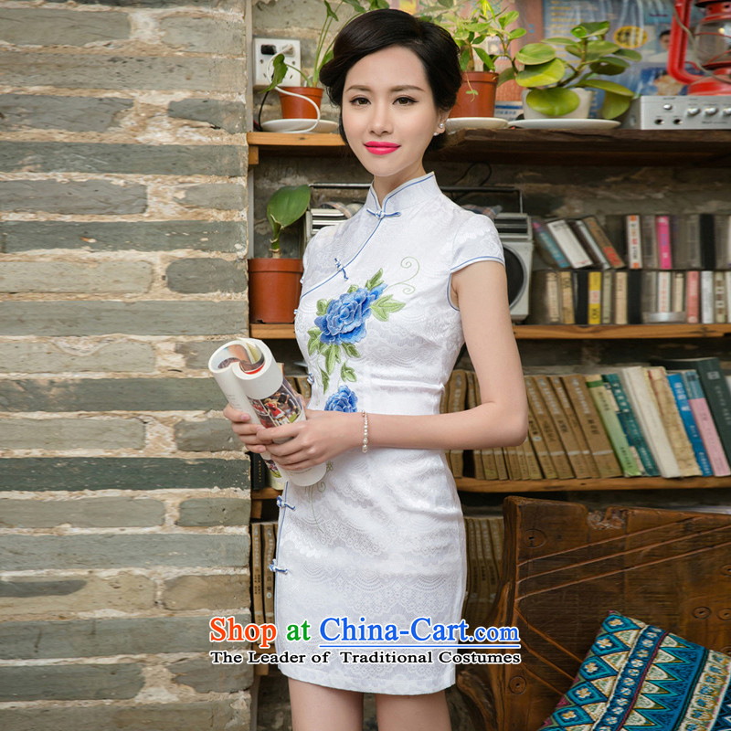 The new 2015 qipao summer short of improved graphics thin retro Sau San dresses female daily cheongsam dress Tang blue?S