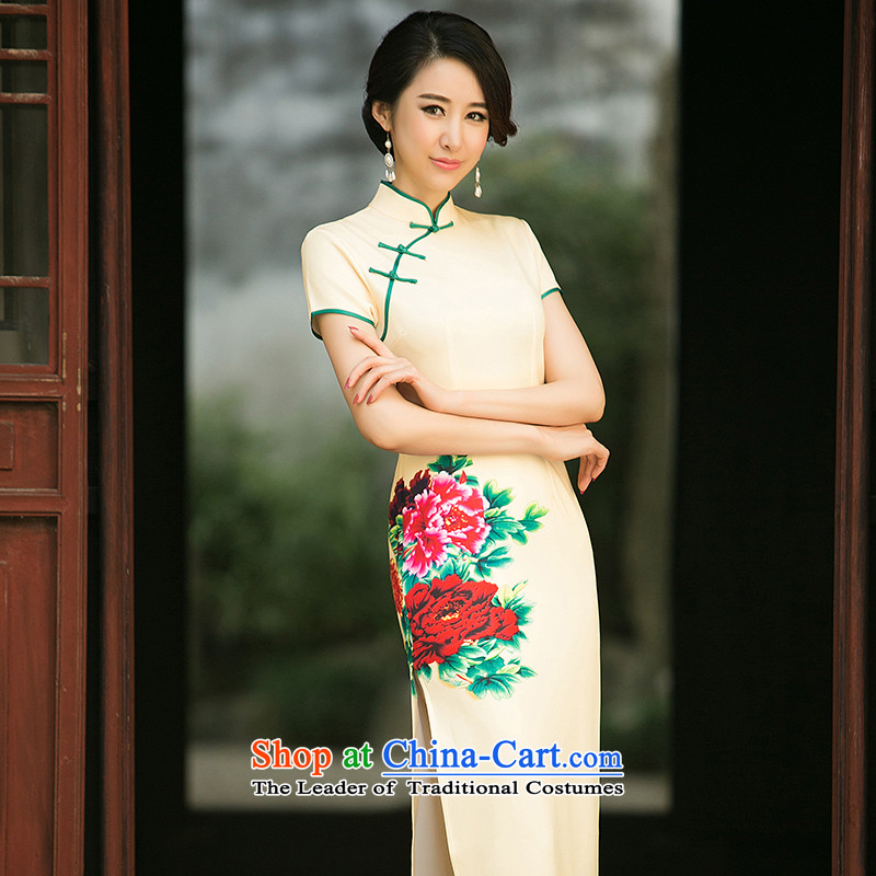 The new 2015 spring_summer load qipao cheongsam dress improved daily qip video thin Foutune of long dresses temperament yellow燲XL