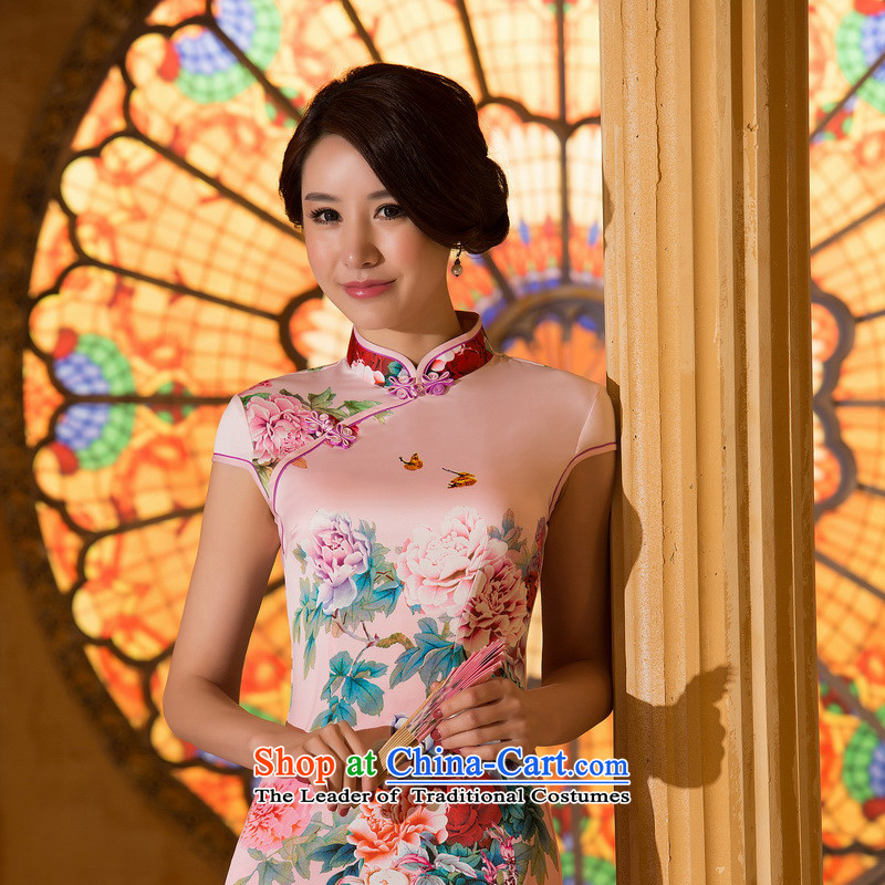 New cheongsam dress 2015 Summer women improved stylish Sau San emulation population everyday retro cheongsam dress pink?L
