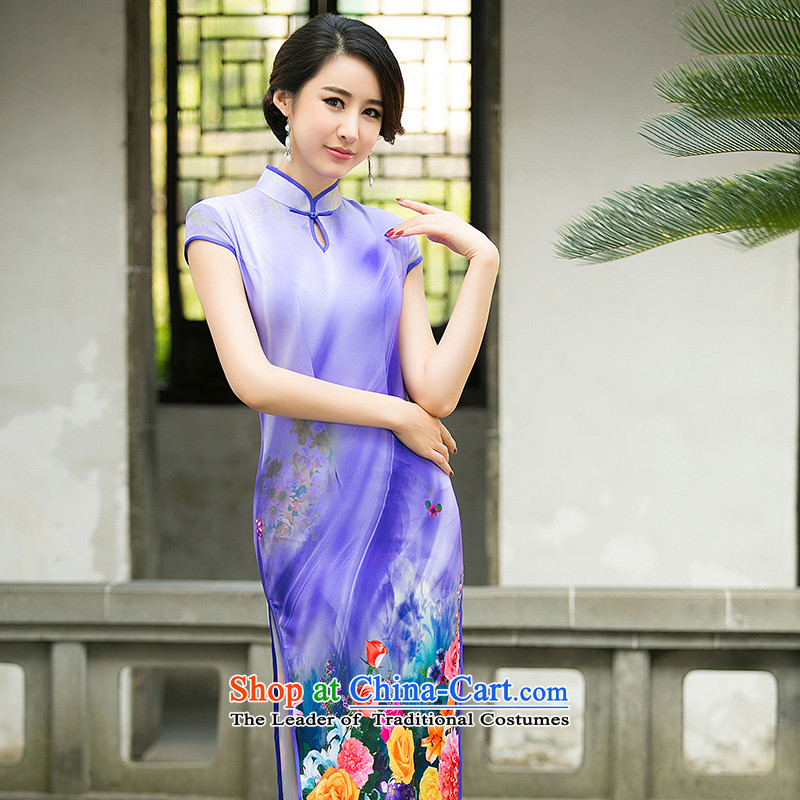 The new 2015 Spring_Summer female cheongsam dress stylish improved daily video thin foutune temperament long gown purple XL