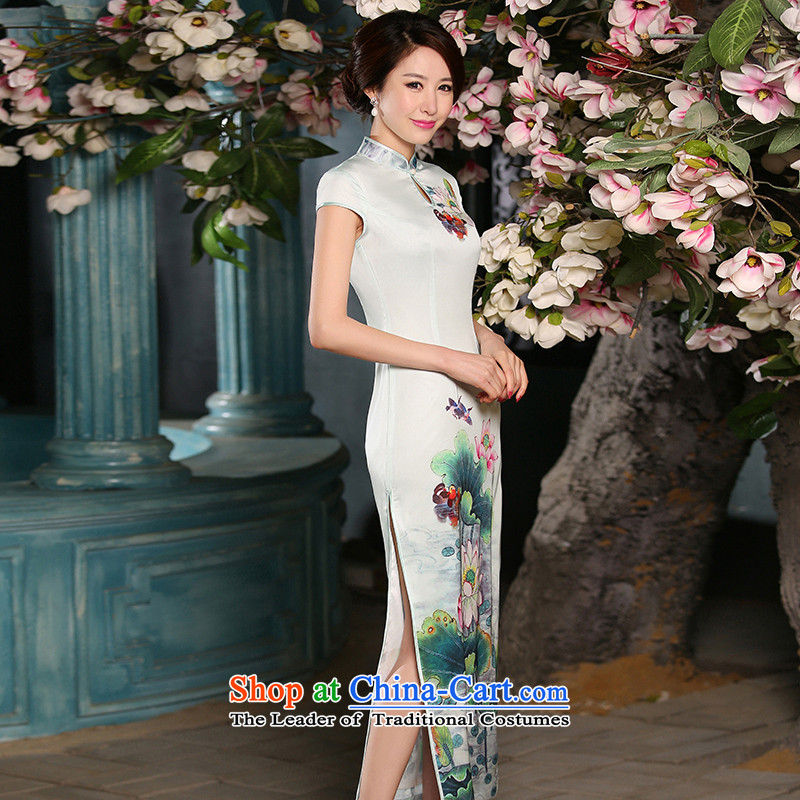 The new 2015 spring_summer load qipao cheongsam dress improved daily qip video thin foutune temperament long gown green?L
