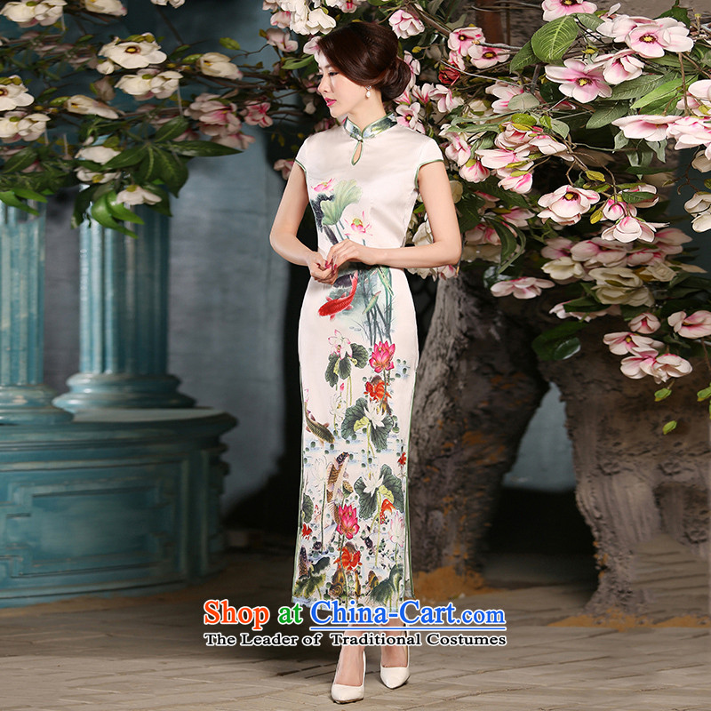 The new 2015 spring_summer load qipao cheongsam dress improved daily qip video thin Foutune of long white dresses temperament聽XL