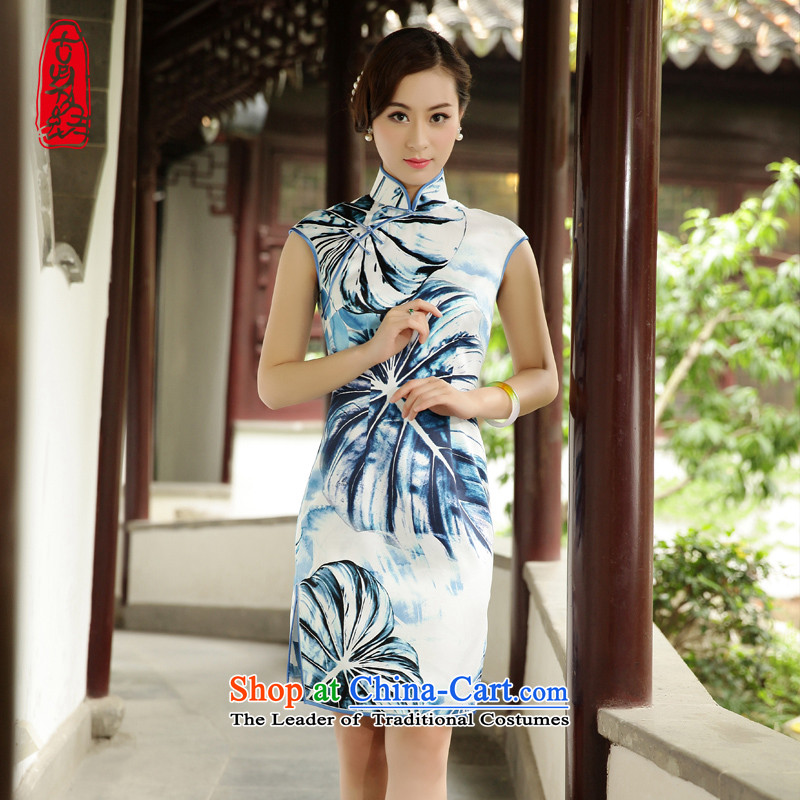 The Wu female red?2015 Summer New Silk Cheongsam dress in Sau San daily improved Ms. Tang Gown elegant stamp?39617A001 XL