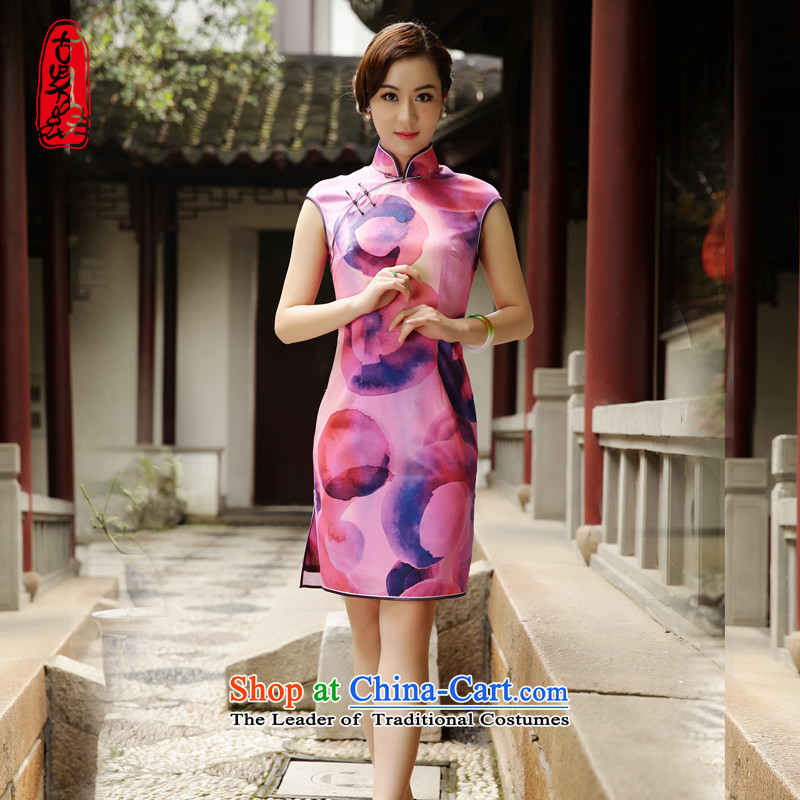 The Wu female red 2015 Summer new improved cheongsam dress summer silk-Sau San Tong replacing short of Ms. elegant stamp?39623A001 M