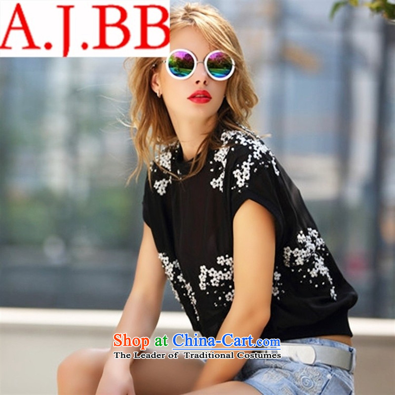 Vpro only A5031 dress European Summer 2015 new site female embroidery nail pearl round-neck collar short-sleeved T-shirt are yard white are code