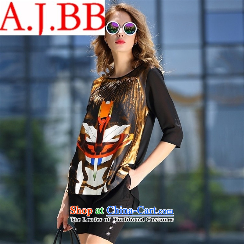 Vpro only A4950 dress Europe 2015 new summer for women with Fan Bing Bing round-neck collar stamp silk dresses black?L