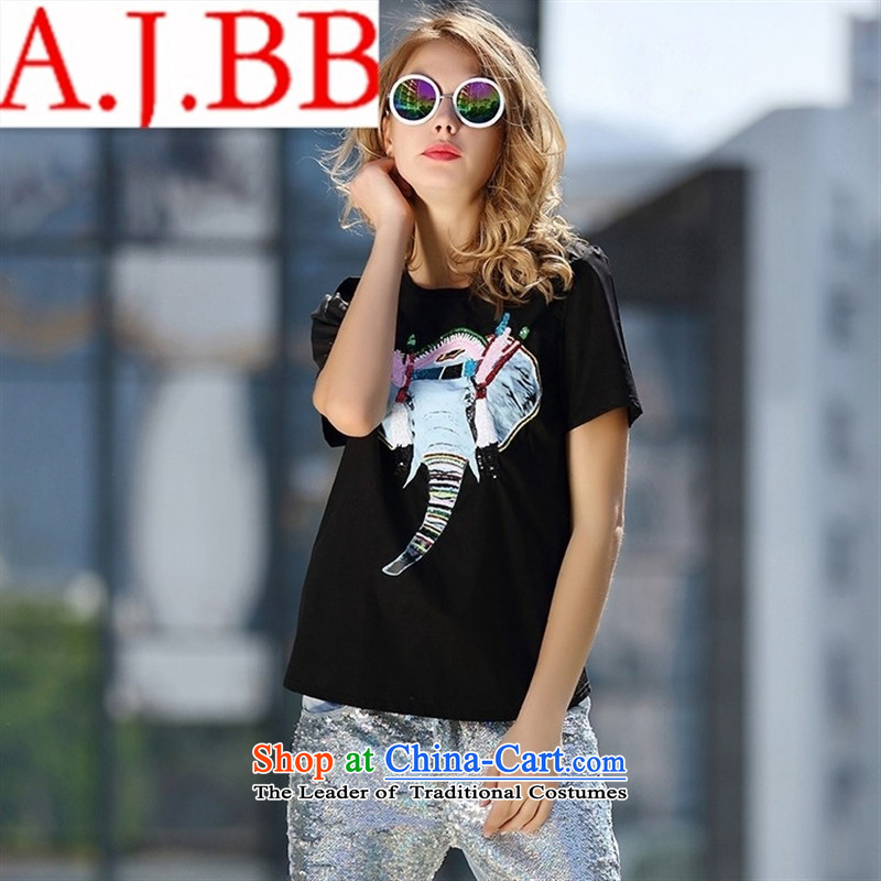 Vpro only A4991 dress Europe 2015 new summer for women animal is applied on the patterns of elephants in round-neck collar short-sleeved T-shirt white?S