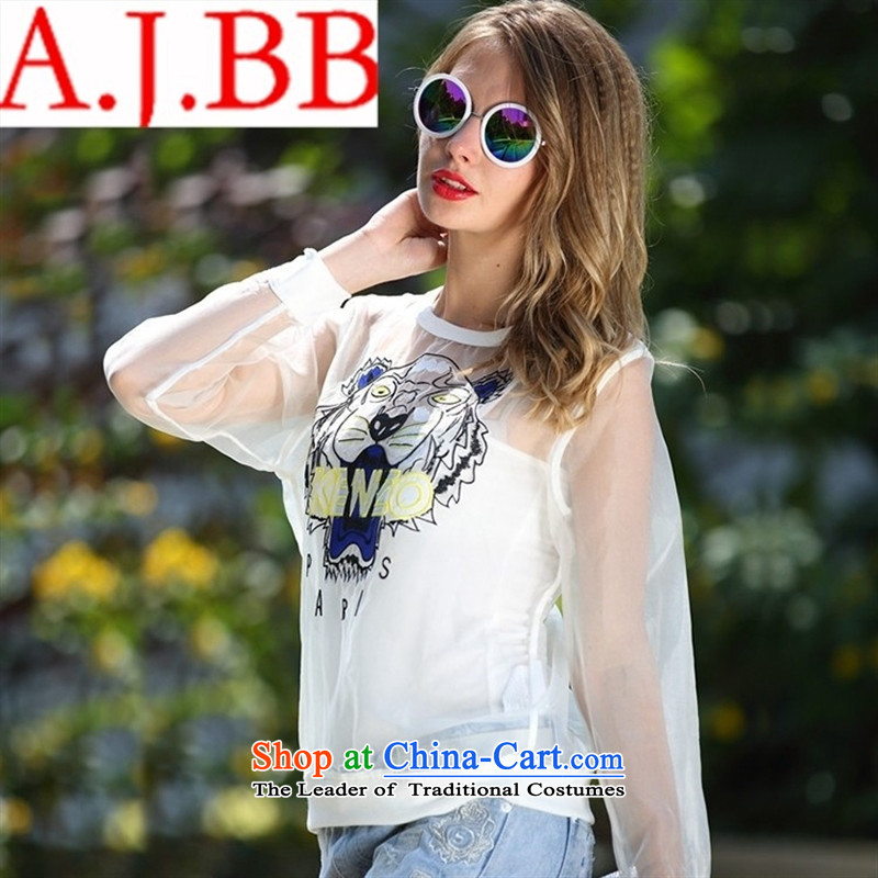 Vpro only A5030 dress European Summer 2015 new site female Euro root yarn fluoroscopy tiger animal avatar embroidery white long-sleeved T-shirt transparent燤
