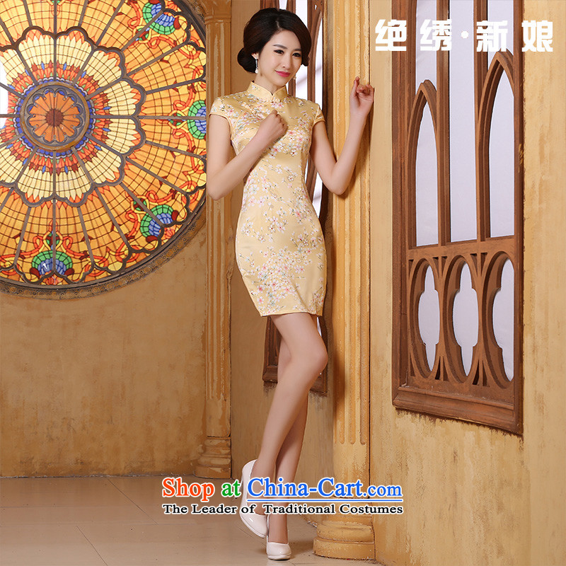 2015 Spring Summer Stylish retro cheongsam dress dresses improved daily short skirt of Chinese women?s?Suzhou shipment yellow