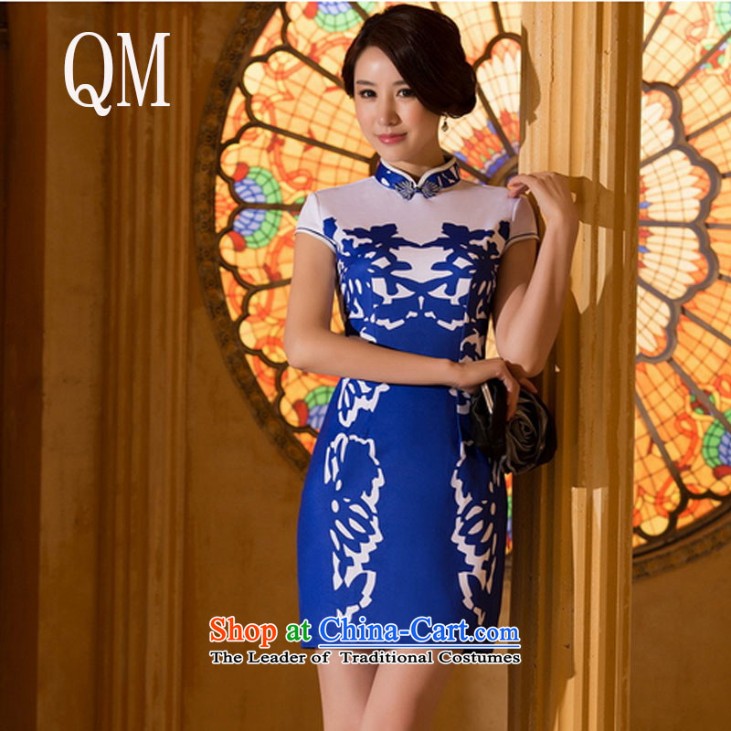 At the end of light and elegant ethnic silk cheongsam dress spend the position of the tension air layer燜ZZ065 qipao燽lue燣