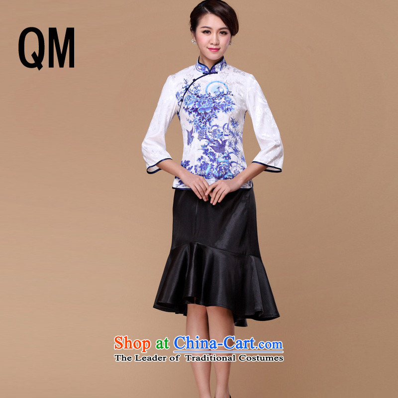 The end of the shallow porcelain retro-tie long-sleeved T-shirt RXB14201-1 Sau San qipao L