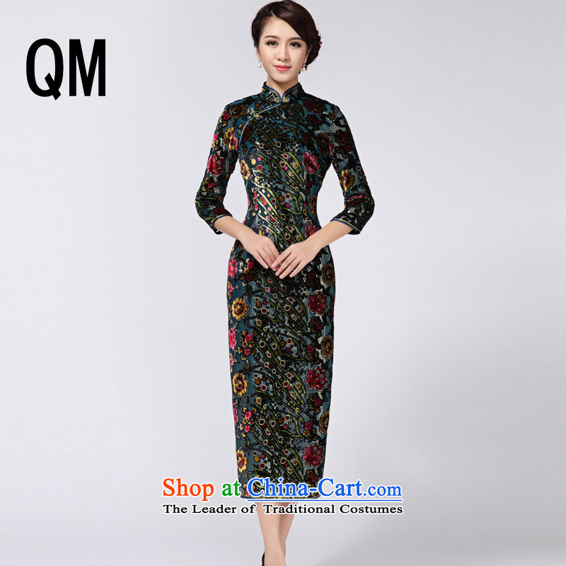 The end of the light of Sau San video thin banquet long wool qipao?RXA814?green?L