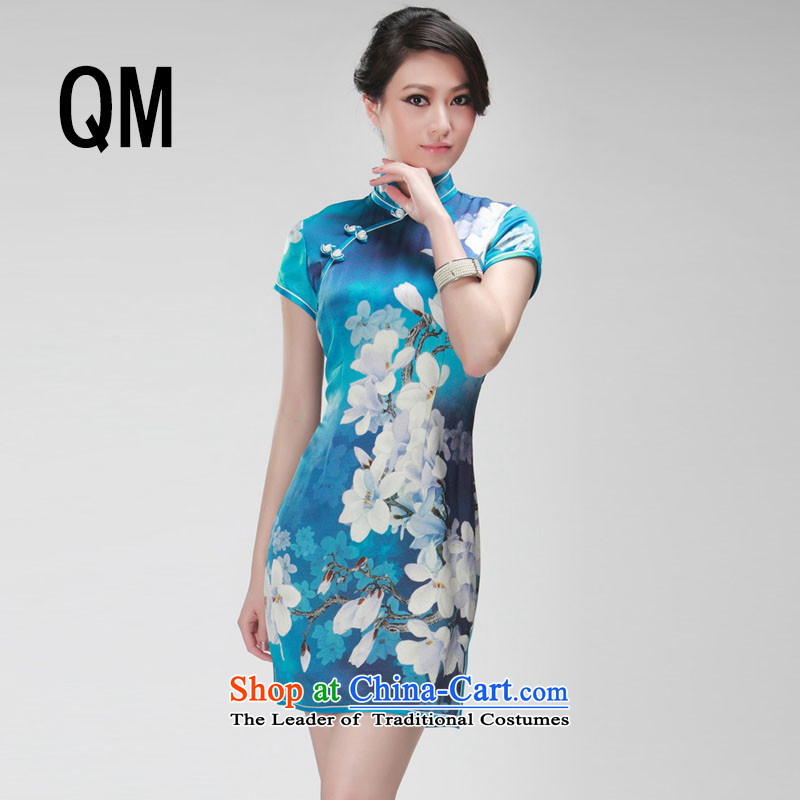 The end of the Double stretch the light cheongsam dress short of Qipao?RXA521?SKYBLUE?XXL