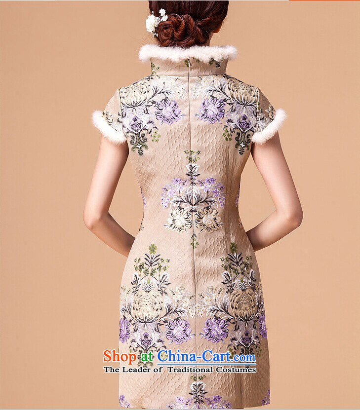 At the end of light cotton female qipao retro folder skirt cheongsam dress RX905 short apricot L photo, prices, brand platters! The elections are supplied in the national character of distribution, so action, buy now enjoy more preferential! As soon as possible.