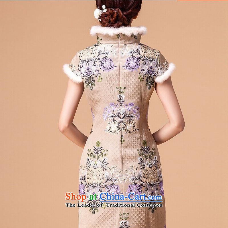 At the end of light cotton female qipao retro folder skirt cheongsam dressRX905 shortapricot colorlight at the end of L, , , , shopping on the Internet