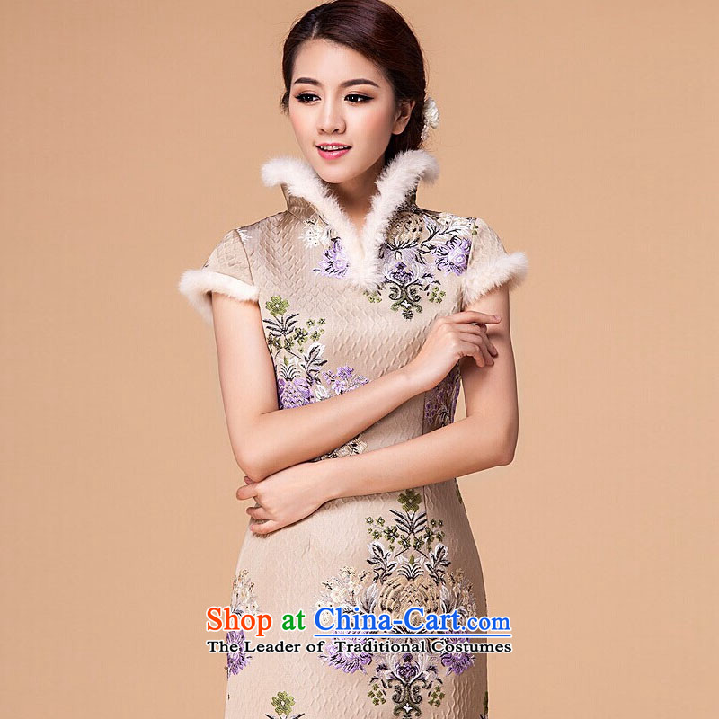 At the end of light cotton female qipao retro folder skirt cheongsam dress RX905 short apricot color light at the end of L, , , , shopping on the Internet