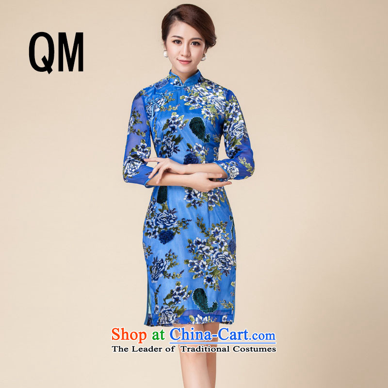 At the end of light Silk Cheongsam mother married retro cheongsam dress suit聽RX141723聽BLUE聽XXL