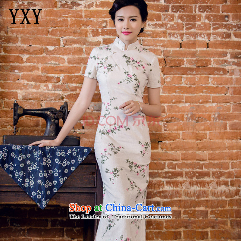 In line new cloud short-sleeved qipao long low on disk for manually linen's skirt?JT5088 BLUE?S