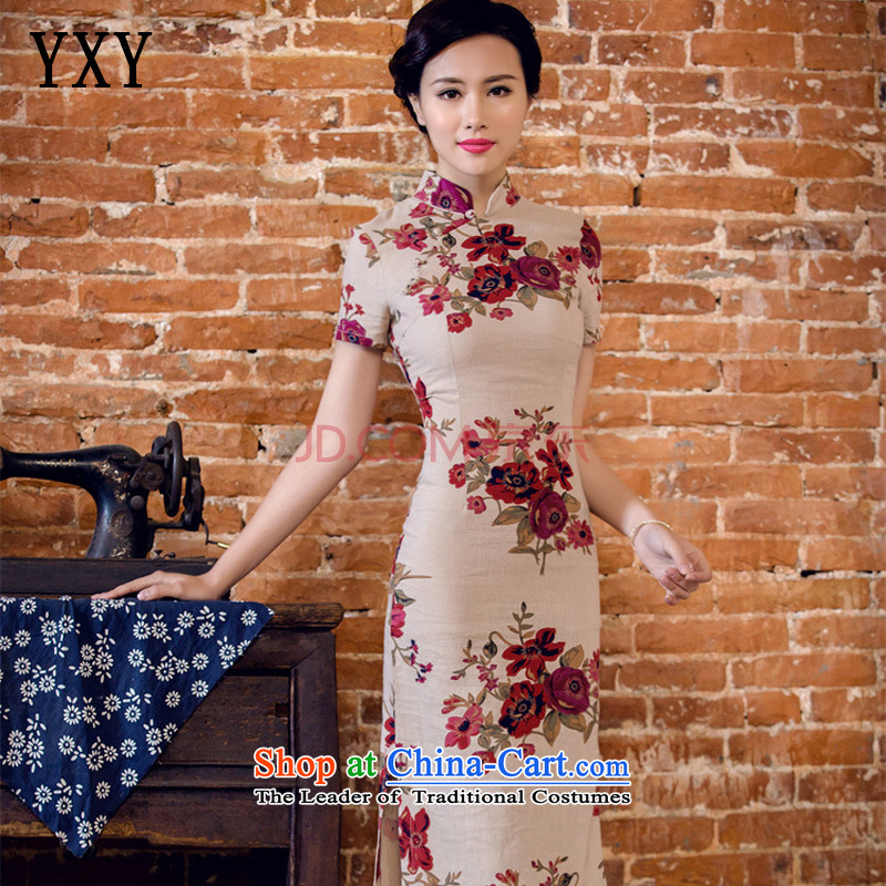 In line summer short-sleeved qipao cloud long low on disk for manually linen's skirt with?L