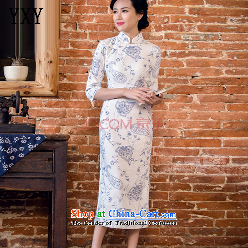 In line summer short-sleeved qipao cloud long low on disk for manually linen's skirt blue Lotus燲L