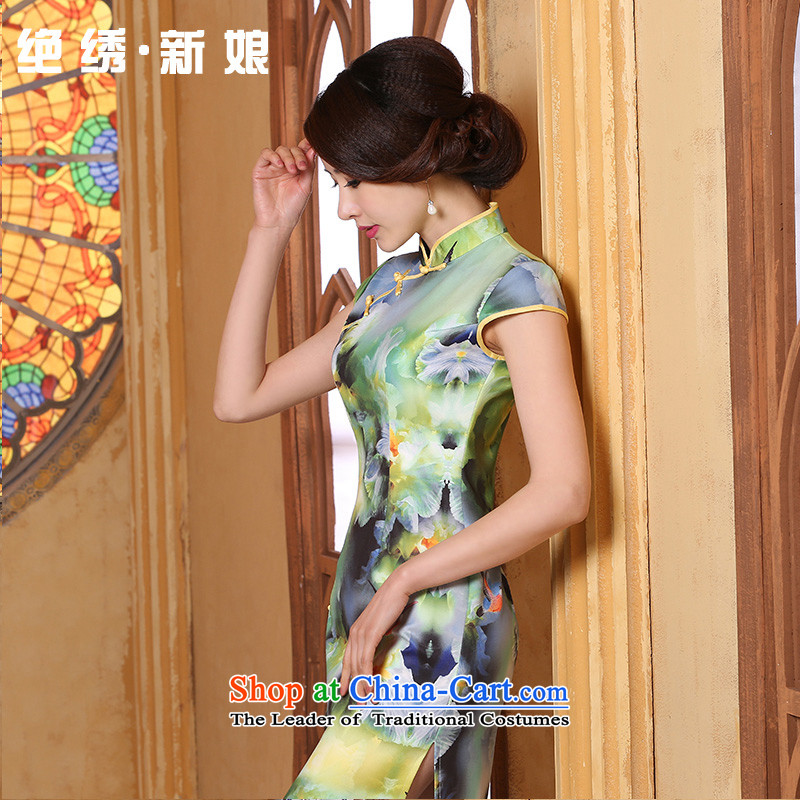 The spring and summer of 2015, the daily new retro improved long stamp short-sleeved teenage beauty cheongsam dress Girl fabric layer kind green?XXL?Suzhou Shipment