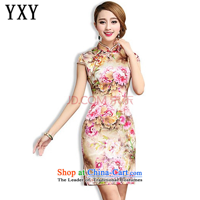 In line Silk Cheongsam retro cloud sauna also silk cheongsam dress Tang Dynasty Chinese female AQE003 map color XXL