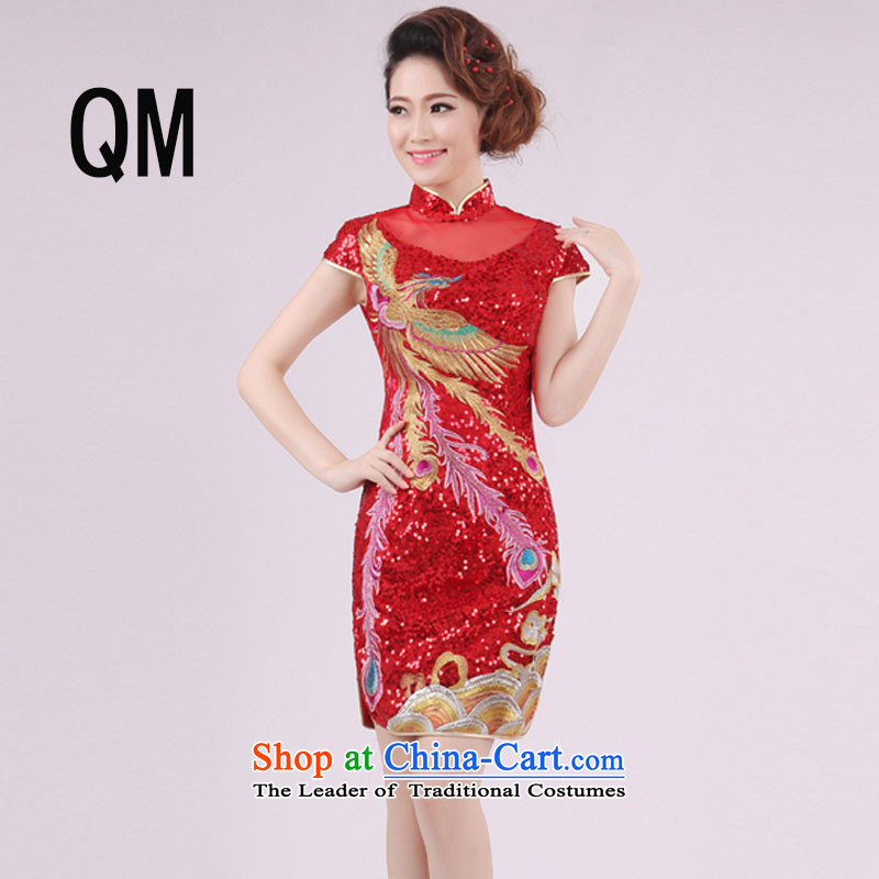 The end of the shallow Phoenix embroidery lace short, on-chip of the forklift truck cheongsam long bridal dresses PYM0023 improved red red XL