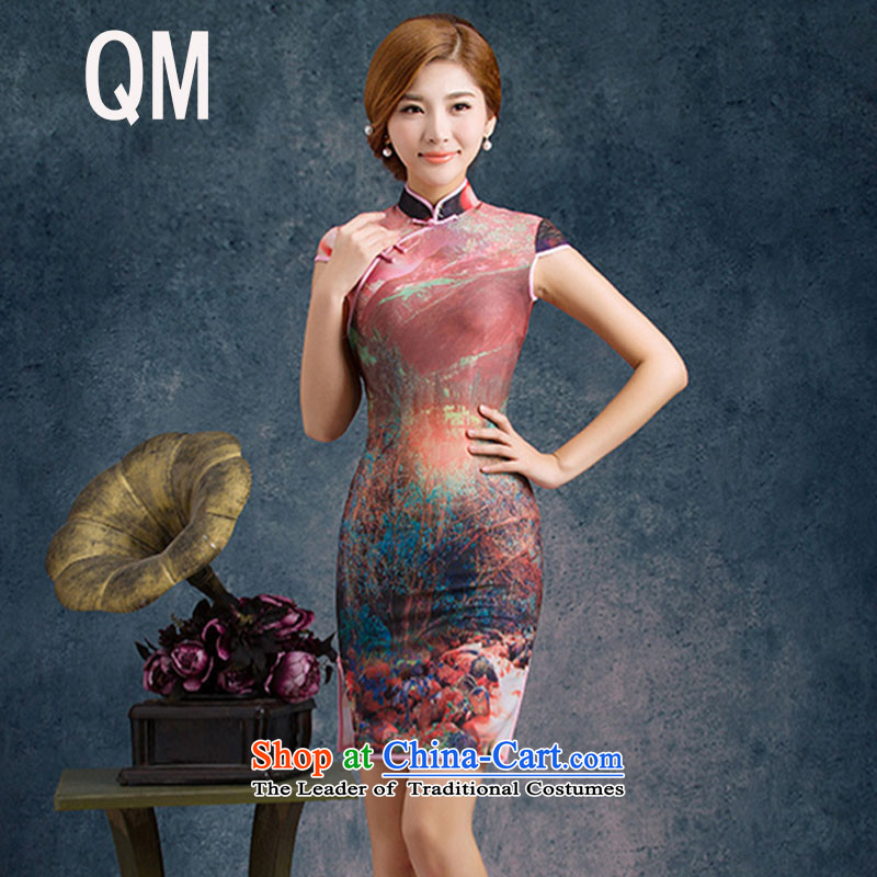 The end of the shallow stretch of Silk Cheongsam improved summer daily short of Sau San stylish temperament short-sleeved low power's skirt?PYMXYG008?picture color?L