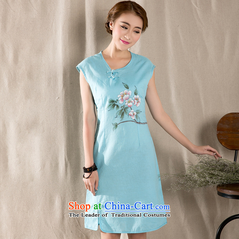 Yi Yi Lian Lian 2015 Summer new arts retro cotton linen dress hand painted cotton linen Sau San improved cheongsam dress Blue燤