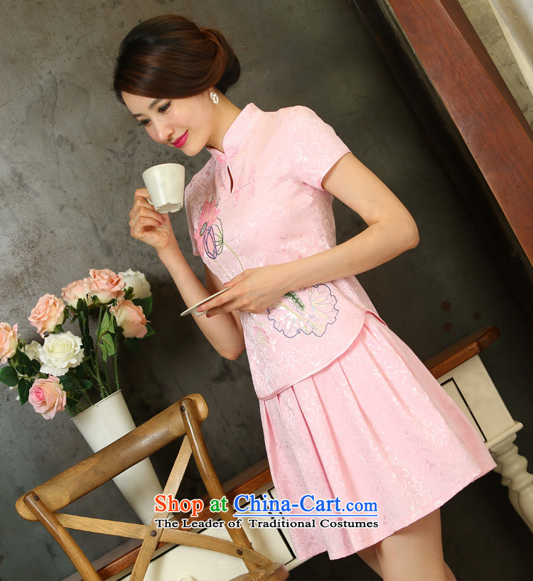 Yi Yi Lian Lian 2015 Summer New Sau San-to-day long-sleeved improved Stylish retro qipao two Kit Carbon燤