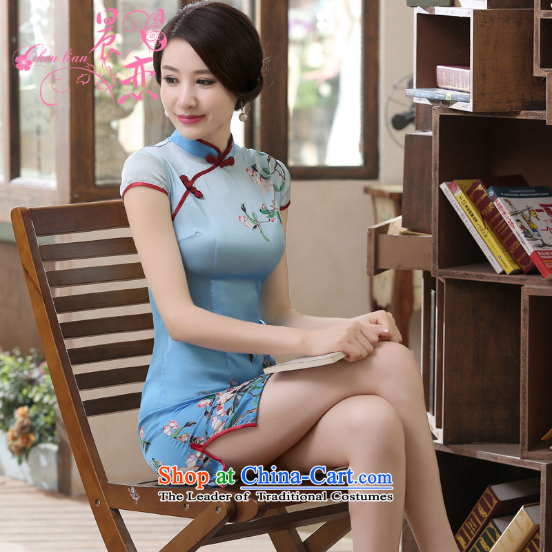 Morning new qipao Land summer short of improvement and Stylish retro herbs extract Chinese qipao silk Jane sticks Blue燲L